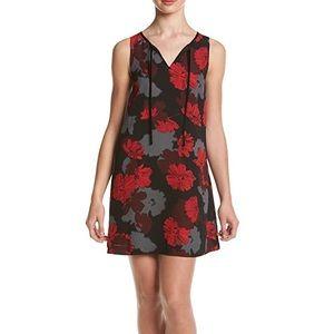 KENSIE • Black Red Floral V-Neck Tie Dress